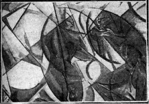 Figure 2 Wyndham Lewis, Creation c.1913 (lost). From a newspaper photograph. Estate of Mrs G.A. Wyndham Lewis. By permission.