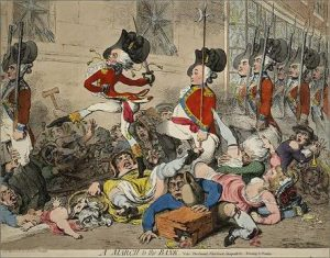Gillray, March to the Bank (1787)