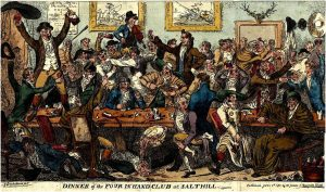 Cruikshank, Dinner of the Four-in-Hand Club (1811)