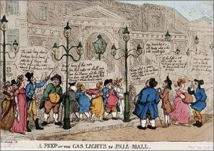 G. M. Woodward, T. Rowlandson, A peep at the gas lights in Pall-Mall (1809)