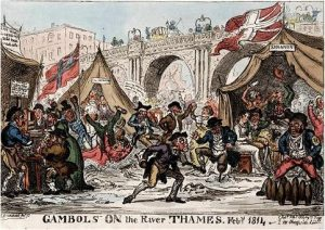 Cruikshank, Gambols on the River Thames (1814)