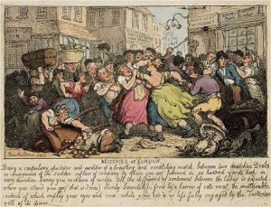 Rowlandson, Miseries of London -- Street Fight (1807)
