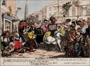Rowlandson, Miseries of London -- Traffic Jam (1807)